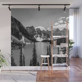 Lake Moraine Black and White Landscape Photography Wall Mural