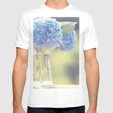 Blue Hydrangea White MEDIUM Mens Fitted Tee