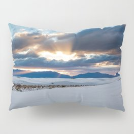 One More Moment - Sunbeams Burst From Clouds Over White Sands New Mexico Pillow Sham