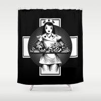 nurse Shower Curtains featuring Nurse by Trine Paulsen
