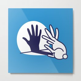 hand shadow rabbit Metal Print