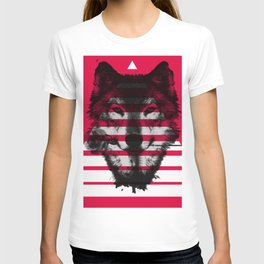 Red wolf white 4 T-shirt