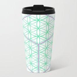Sacred Geometry - glowing energy lines - cube and flowers Metal Travel Mug