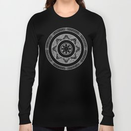 Flower Star Mandala - Black White Long Sleeve T-shirt