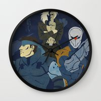 metal gear solid Wall Clocks featuring Metal Gear Solid 1: The Twin Snakes by Monserratt