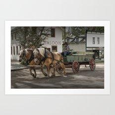 Fort Edmonton Museum Old Horse Drawn Wagon in Edmonton Alberta Canada Art Print