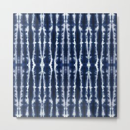 Palm Tiki Shibori Indigo Metal Print