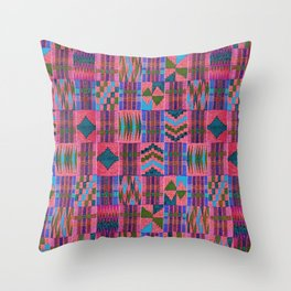 Kente Cloth // Summer Sky & Venetian Red Throw Pillow