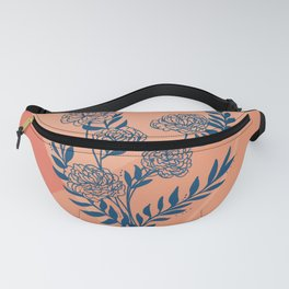 Blue peach peony floral design Fanny Pack
