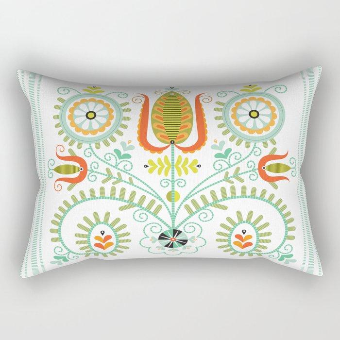 Folk Tulips No. 1 Rectangular Pillow