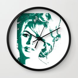brigitte bardot - blue Wall Clock
