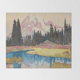 Mount Rainier Vintage Beautiful Japanese Woodblock Print Hiroshi Yoshida Throw Blanket