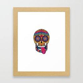 Colourful 80s-Style Sugar Skull Framed Art Print