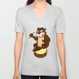 Beaver cartoon character with a toothbrush Unisex V-Neck