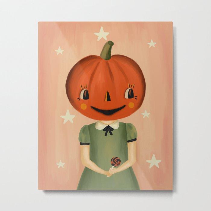 Pumpkin Head Metal Print