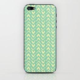 Modern Brush Stroke Chevrons - Green & Yellow iPhone Skin