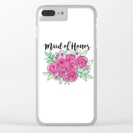Maid of Honor Wedding Pink Roses Watercolor Clear iPhone Case