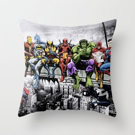 Superhero Lunch Atop A Skyscraper Throw Pillow