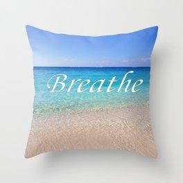 Breathe Cayman Relaxing Beach Waves Throw Pillow