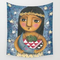 cuddle Wall Tapestries featuring Cuddle The Moon by ChiarArtIllustration