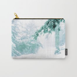 Emerald forest in blizzard and snow Carry-All Pouch