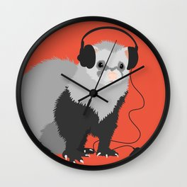 Music Loving Ferret Wall Clock