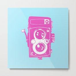 Big Vintage Camera - Pink / Light Blue Metal Print