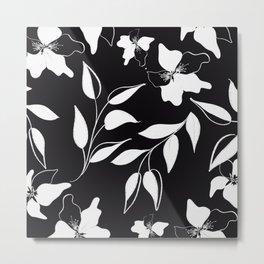Abstract Black White Leaf Flora Metal Print