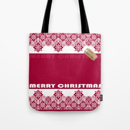 Merry Christmas ! Red lace pattern .Gift . Tote Bag