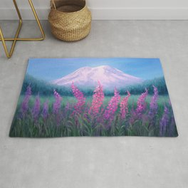 Fireweed Phenomenon on Mount Rainier Rug