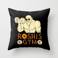 gym Throw Pillows featuring roshi's gym by Louis Roskosch