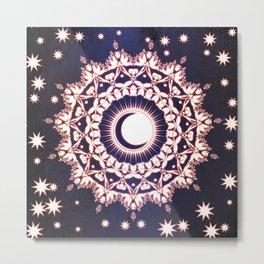 Sun Moon & Stars Mandala Spiritual Zen Bohemian Hippie Yoga Mantra Meditation Metal Print