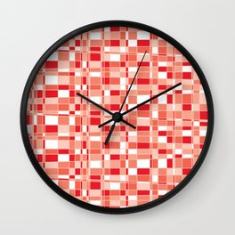 Mod Gingham - Red Wall Clock