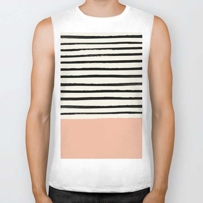 Peach x Stripes Biker Tank