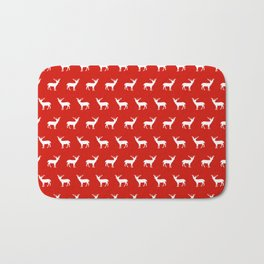 Christmas deer reindeer red and white minimal modern silhouette holiday pattern print design Bath Mat