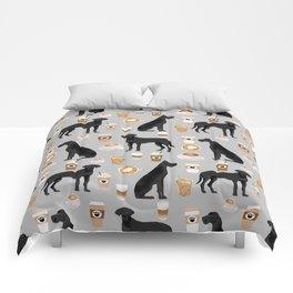 Great Dane coffee black coat color custom pet portrait dog art by pet friendly Comforters