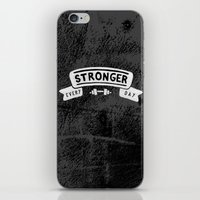 crossfit iPhone & iPod Skins featuring Stronger Every Day (dumbbell, black & white) by Lionheart Art
