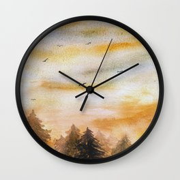 Watercolor sunset Forest Background Wall Clock