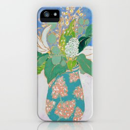 Lily and Eucalyptus Bouquet in Blue and Peach Floral Vase iPhone Case