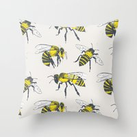 bees Throw Pillows featuring Bees by Tracie Andrews