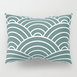 Teal Japanese Seigaiha Wave Pillow Sham