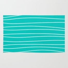 Turquoise Brush Stroke Lines Rug