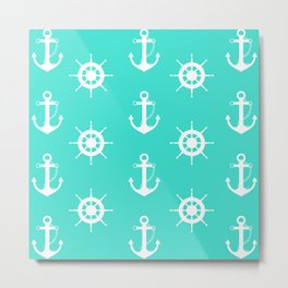 AFE Turquoise Anchor and Helm Wheel Metal Print
