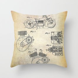 1943 Paper Indian Motor Company Drive Shaft for Motorcycles Patent Throw Pillow
