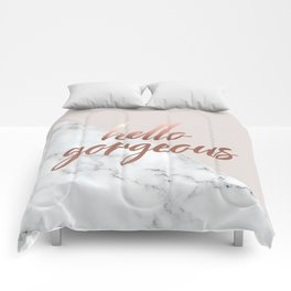 Hello Gorgeous, Rose Gold, Pink, Marble, Quote Comforters