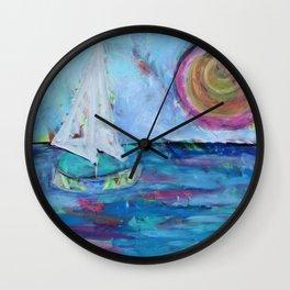 Sailboat at Sunset Wall Clock
