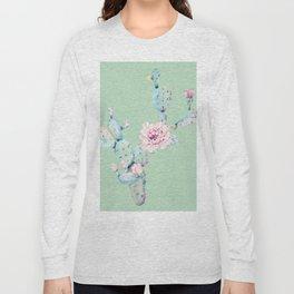 Rose Desert Cactus Mint Green + Pink Long Sleeve T-shirt
