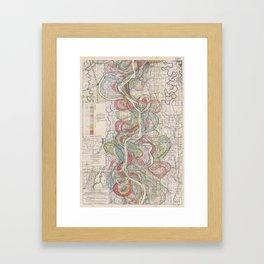 Harold N. Fisk Plate 22-09 Mississippi River Meander Belt Framed Art Print