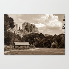 Sedona Mountain Landscape - Sepia Edition Canvas Print