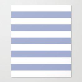 Wild blue yonder - solid color - white stripes pattern Canvas Print